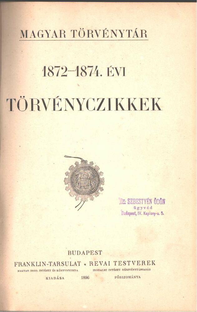 1872-1874. évi törvényczikkek