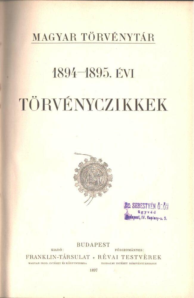1894-1895. évi törvényczikkek
