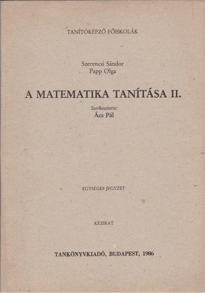 A matematika tanítása II.