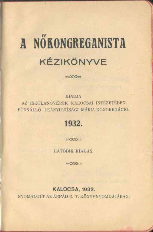 A nőkongreganista kézikönyve