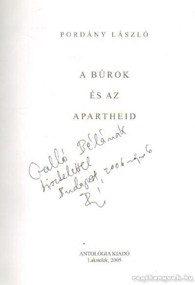 A Búrok és az Apartheid (dedikált)