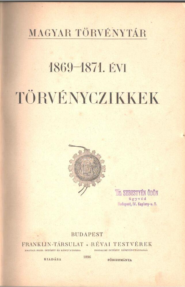 1869-1871. évi törvényczikkek