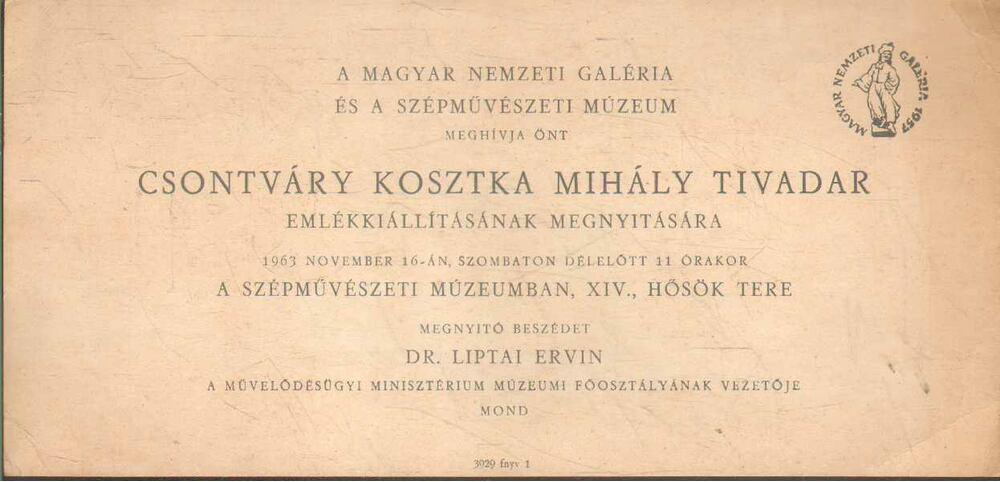 Meghívó Csontváry Kosztka Mihály Tivadar emlékkiállításának a megnyitására