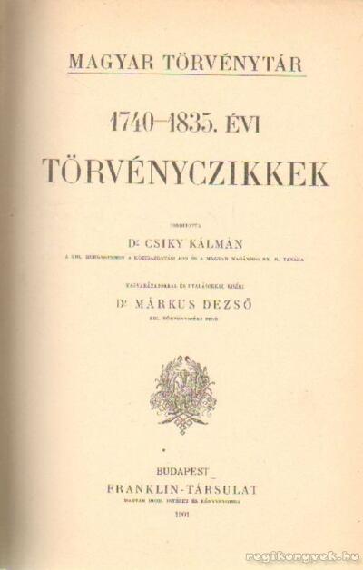 1740-1835.-évi törvényczikkek