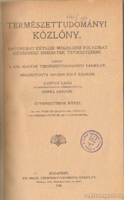 Természettudományi közlöny 1920. (teljes)