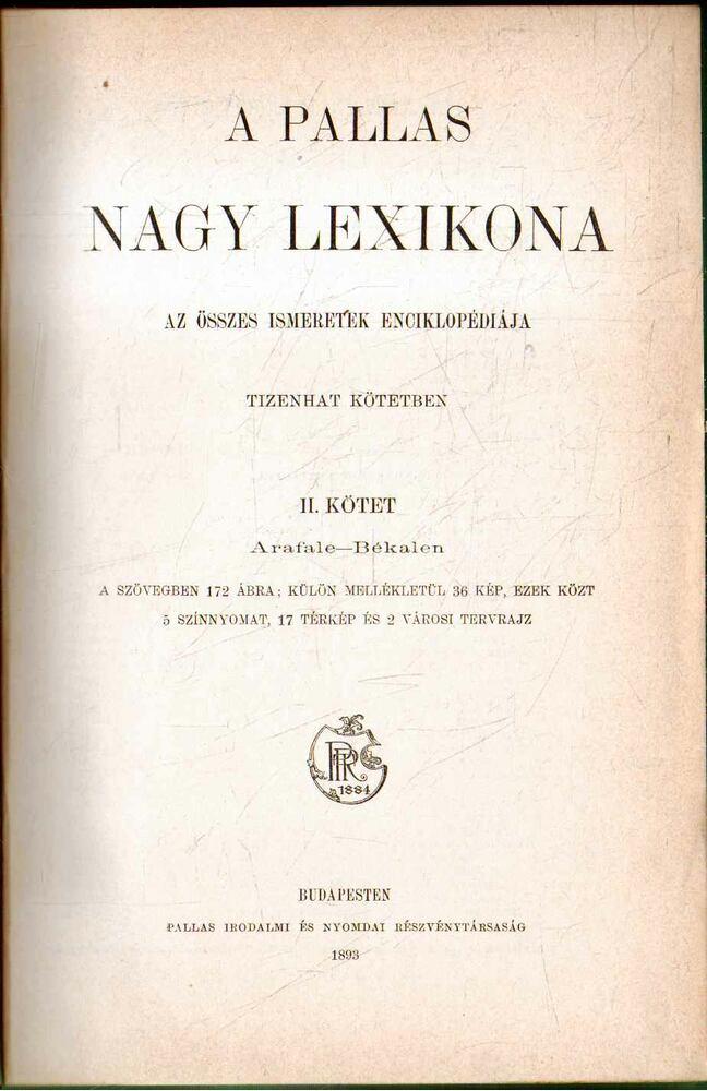 A Pallas Nagy Lexikona II.
