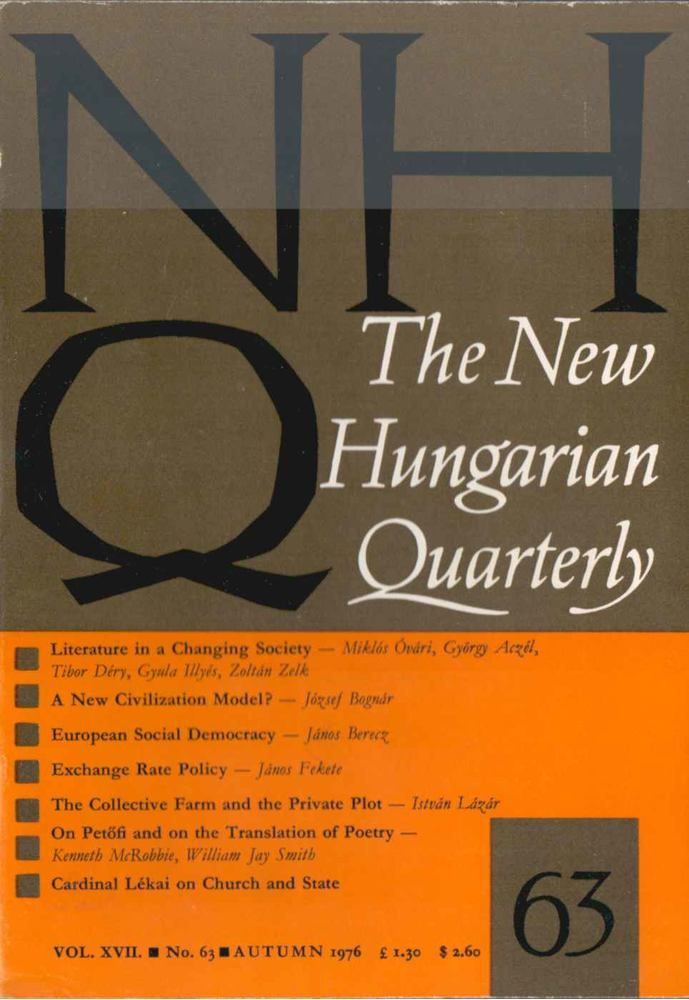The New Hungarian Quarterly No. 63