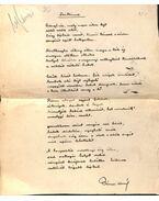 Szikince című vers kézirata