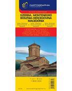 SZERBIA, MONTENEGRO, BOSZNIA-HERCEGOVINA, MACEDÓNIA AUTÓTÉRKÉP - CART. -