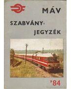 MÁV szabványok jegyzéke 1984