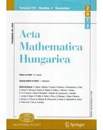 Acta Mathematica Hungarica Volume 141. Number 4. Decmber 2013 - Császár Ákos