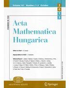 Acta Mathematica Hungarica Volume 141. Numbers 1-2. October 2013 - Császár Ákos