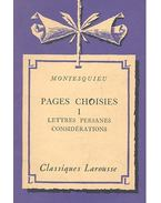 Pages choisies I - Lettres persanes considerations