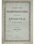 A Szeged Városi Nyilvános Polgári Fi-Iskola nyolcadik évi értesítője az 1880-81. tanévről