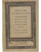 Válogatott magyar könyvek jegyzéke 1937-1938 XI. évfolyam