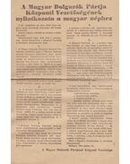 A Magyar Dolgozók Pártja Központi Vezetőségének nyilatkozata a magyar néphez