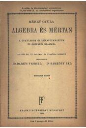 Algebra és mértan 1938. - Régikönyvek