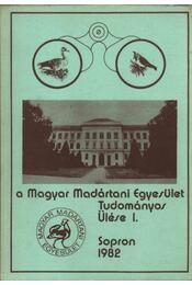 A Magyar Madártani Intézet tudományos ülése I. - Régikönyvek