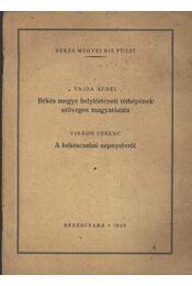 Békés megye helytörténeti térképének szöveges magyarázata - A békéscsabai népnyelvről - Régikönyvek