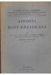 Apponyi mint közjogász - Régikönyvek
