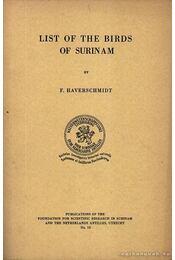 List of the birds of Suriname (Suriname madarainak listája) - Régikönyvek