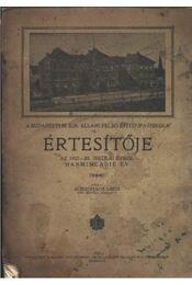 A Budapesti M. Kir. Állami Felső Építő Ipariskola értesítője az 1927-28. iskolai évről - Régikönyvek