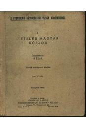 Tételes magyar közjog - Régikönyvek