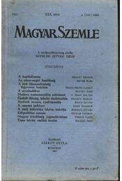Magyar Szemle 1937. XXX. kötet 4.(120) szám. - Régikönyvek