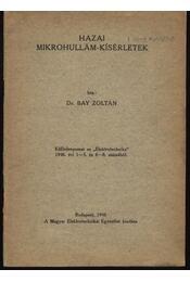 Hazai mikrohullám-kisérletek - Régikönyvek