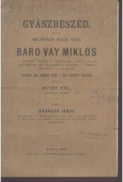 Gyászbeszéd báró Vay Miklós tiszteletére - Régikönyvek