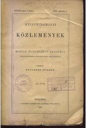 Nyelvtudományi közlemények XXVIII. kötet I.-IV. füzete - Régikönyvek