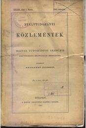 Nyelvtudományi közlemények XXXIII. kötet 1-4. füzete - Régikönyvek
