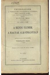 A rendi elemek a magyar alkotmányjogban - Régikönyvek