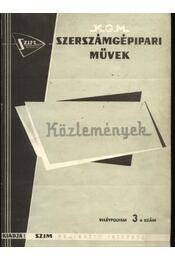 Szerszámgépipari Művek közleményei VII. évfolyam 3. szám - Régikönyvek