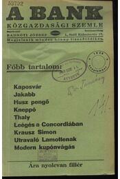 A Bank 1938. szeptember - Régikönyvek