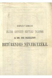 Zemplén-Vármegye legtöbb adófizető bizottsági tagjainak az 1898. évre összeállított Betűrendes Névjegyzéke - Régikönyvek