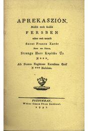 Aprekaszión - Régikönyvek