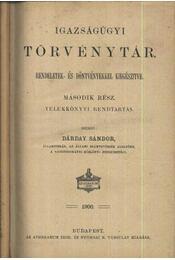 Igazságügyi Törvénytár I-VI. kötet + Tárgymutató - Régikönyvek