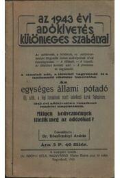 Az 1943. évi adókivetés különleges szabályai - Régikönyvek
