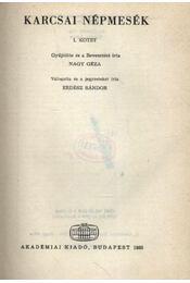 Karcsai népmesék I. kötet - Régikönyvek