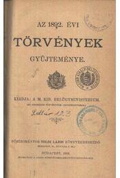 Az 1892. évi törvények gyűjteménye - Régikönyvek
