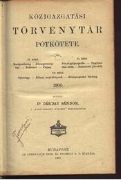 Közigazgatási Törvénytár - Pótkötet - Régikönyvek