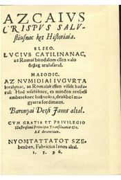 Az caius crispus sallustiusnak két históriája - Régikönyvek