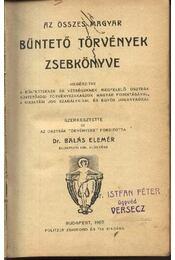 Az összes magyar büntető törvények zsebkönyve - Régikönyvek