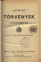 Az 1930. évi törvények gyűjteménye - Régikönyvek