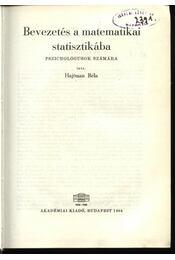 Bevezetés a matematikai statisztikába - Régikönyvek