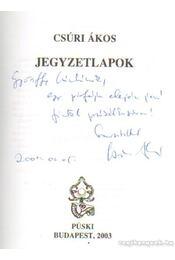 Jegyzetlapok - Csúri Ákos - Régikönyvek