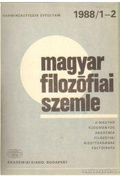 Magyar filozófiai szemle 1988. (teljes) - Régikönyvek