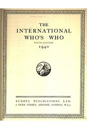 The International Who's Who 1940 - Régikönyvek