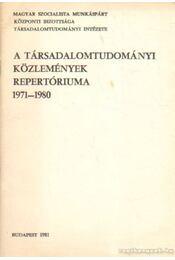 A Társadalomtudományi Közlemények repertóriuma 1979-1980 - Markella Károlyné, Pergéné Varró Margit, Stock Imréné - Régikönyvek